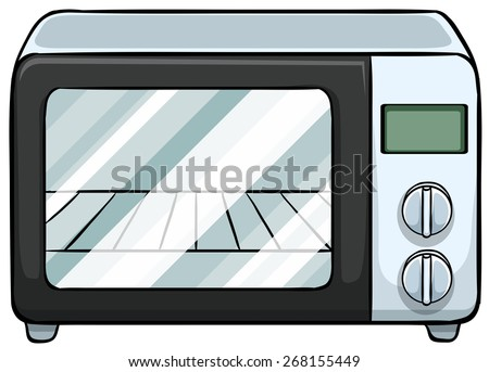 Close up electronic microwave oven - stock vector