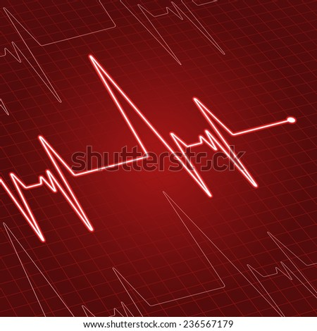 Close up heartbeat or electrocardiogram on screen for medicine and cardiology design - stock vector