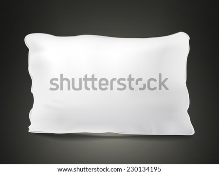 close up look at blank pillow isolated on black background - stock vector