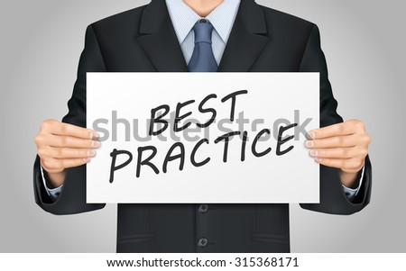 close-up look at businessman holding best practice poster - stock vector