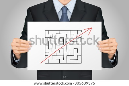close-up look at businessman holding break the rules poster - stock vector