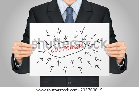 close-up look at businessman holding customer word poster - stock vector