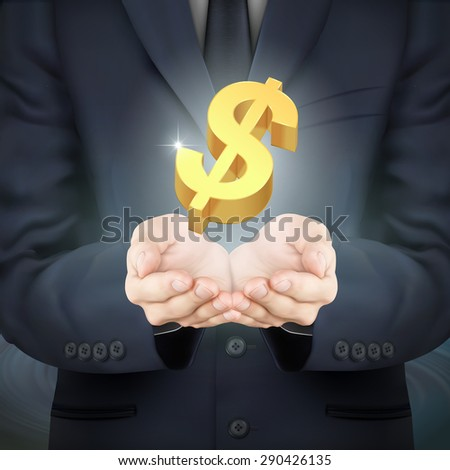 close-up look at businessman holding money symbol