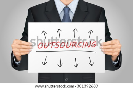 close-up look at businessman holding outsourcing poster - stock vector