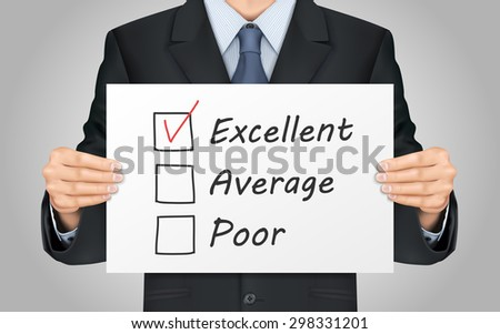 close-up look at businessman holding quality survey poster - stock vector