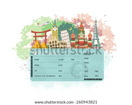 close-up look at flight ticket with famous monument around the world - stock vector