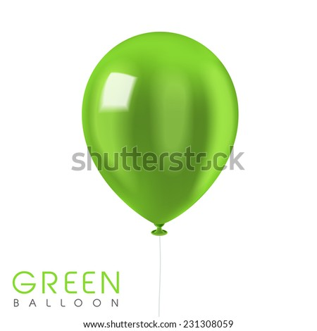close up look at green balloon isolated on white  - stock vector