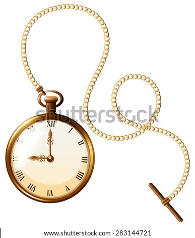 Close up luxury design of pocket watch - stock vector