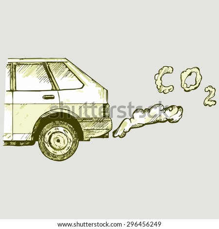 Close up of a car's fumes emissions in the traffic jam. Vector Image - stock vector