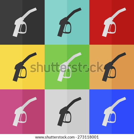 Close up of a gas station vector icon - colored set. Flat design - stock vector