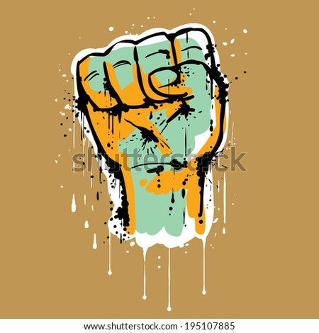 Close up of a male hand with clenched fist, making a rising fist sign or salute. Hand drawn graffiti style. - stock vector