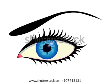 Close up of beautiful blue eye isolated on white - stock vector