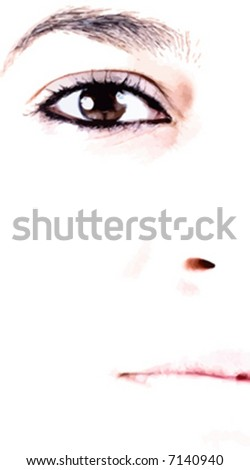 Close-up of beautiful face of woman on white background - stock vector