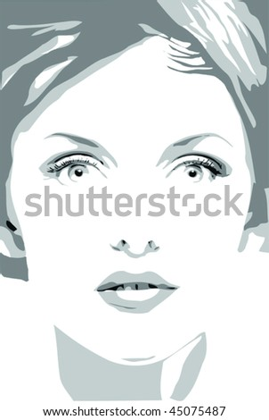 Close up of beautiful woman face looking ahead stock vector