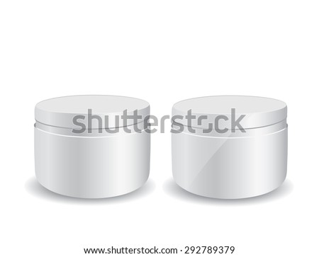 Close up of beauty cream container on white background - stock vector