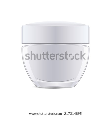 Close up of beauty hygiene container isolated over white background - stock vector