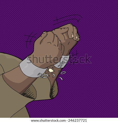 Close up of Black man's hands breaking shackles - stock vector