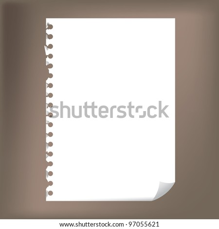 Close up of blank notepad paper - illustration - stock vector