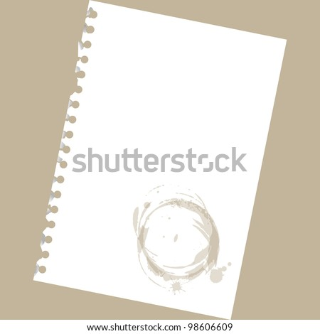 Close up of blank notepad paper with spots - illustration - stock vector