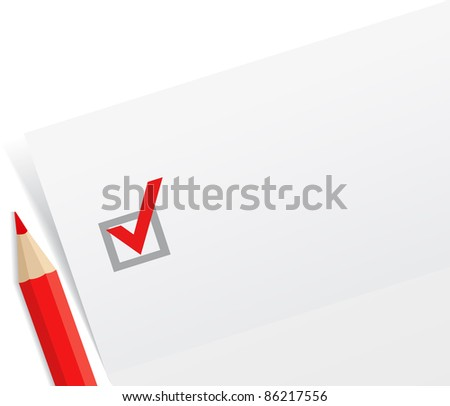 Close-up of checklist with a red pencil, vector illustration
