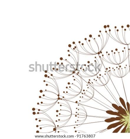 Close up of dandelion flower. Vector illustration - stock vector