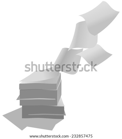close up of flying paper and stack of papers on white background. Blank - stock vector