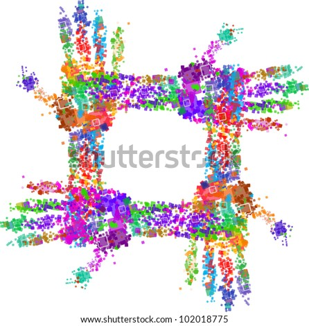 Close up of multicolored hand print on white background - stock vector