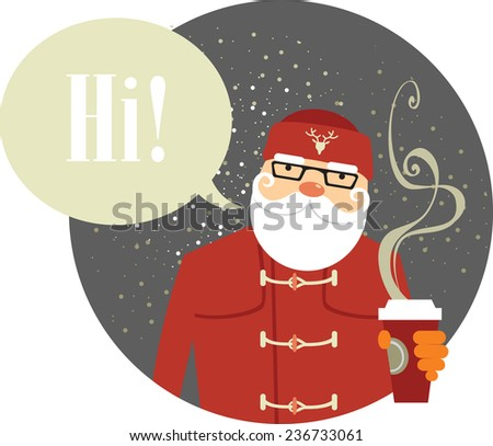 Close up of Santa Claus hipster style holding cup of coffee - stock vector