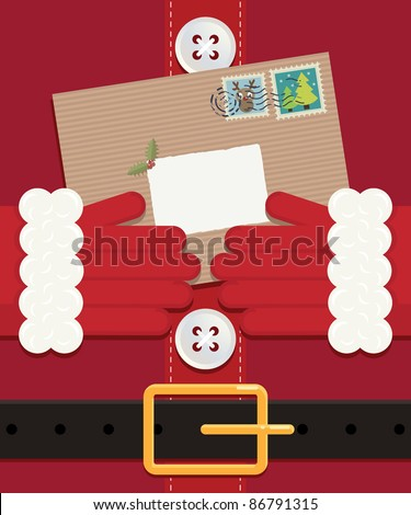 close up of santa holding a letter left blank for your message - stock vector
