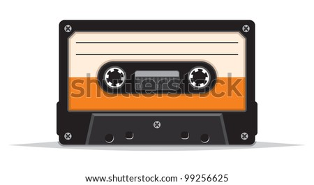close up of vintage audio tape - stock vector