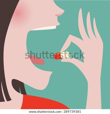 Close up of Woman in red clothes taking a pill in to her mouth - stock vector