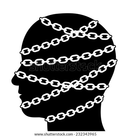 Close up Silhouette Human Head in Side View Isolated with Chains on White Background. - stock vector