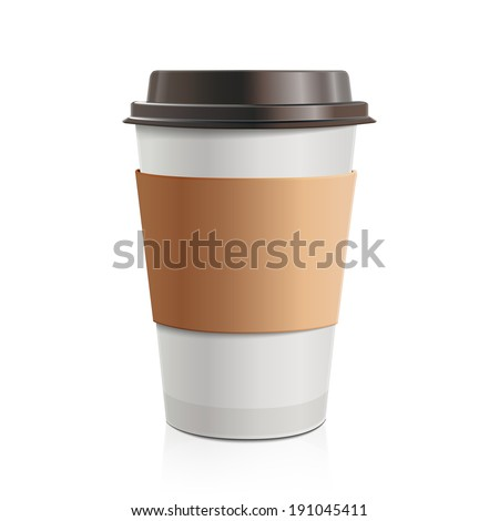 Close up take-out coffee with brown cap and cup holder. Isolated on white background. Vector Illustration. - stock vector