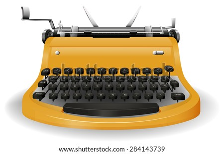 Close up typewriter with classic design - stock vector