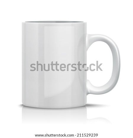 Close up Vector Classic White Cup for Business Branding and Corporate Identity. Isolated on White.