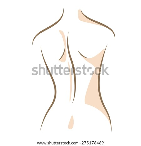 Close up woman back, drawn in vector lines - stock vector