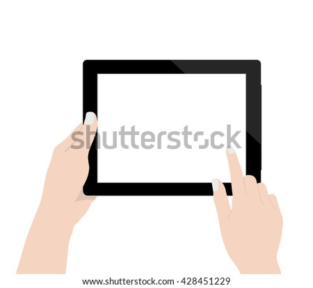 close up woman hand using digital tablet technology blank screen display on white background vector design - stock vector