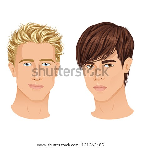 Close ups of two handsome young guys, different hair types. isolated vector illustration. - stock vector