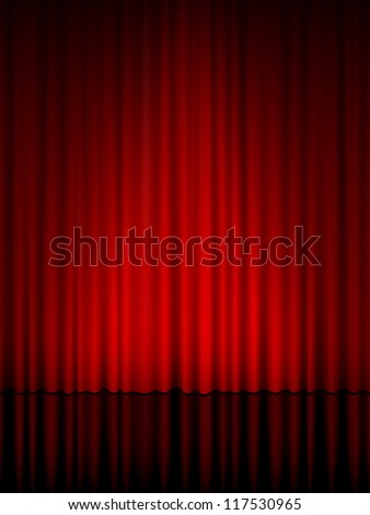 Close view of a red curtain. Vector illustration. - stock vector