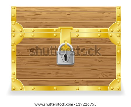 closed antique chest vector illustration isolated on white background - stock vector