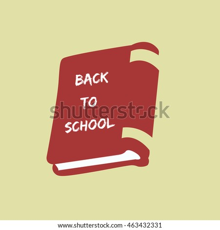 closed Book with a text - Back to School illustration isolated in a beige background