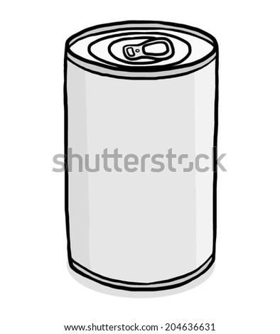 closed can / cartoon vector and illustration, grayscale, hand drawn style, isolated on white background.