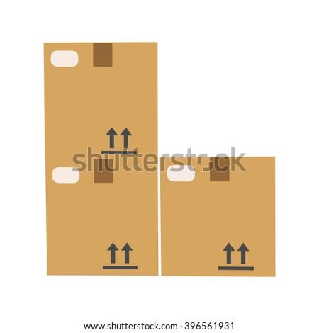 Closed cardboard box - stock vector