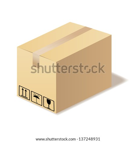 Closed cardboard box isolated. Illustration in vector format - stock vector