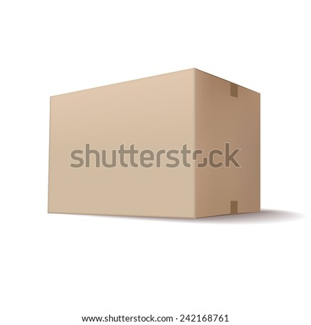 closed cardboard box isolated on white background - stock vector