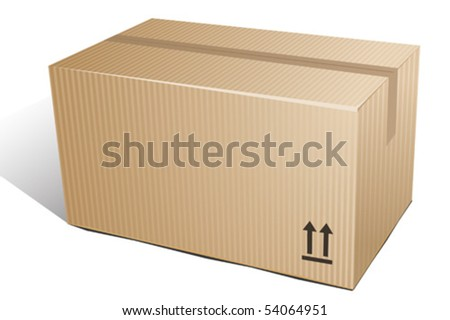 Closed cardboard on white background. Vector illustration - stock vector