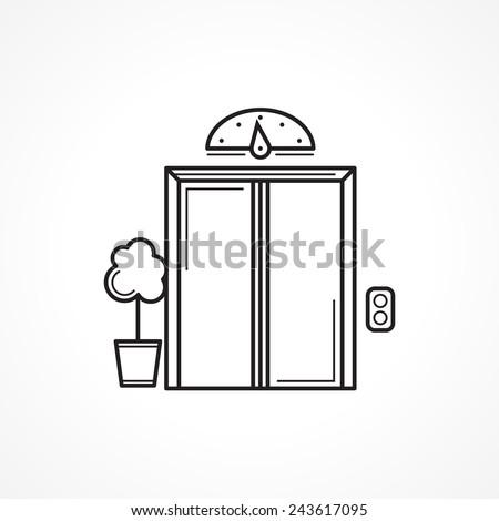 Closed elevator door black line vector icon. Single black contour elevator, passenger lift closed door with flower pot. Vintage design vector icon on white background. - stock vector