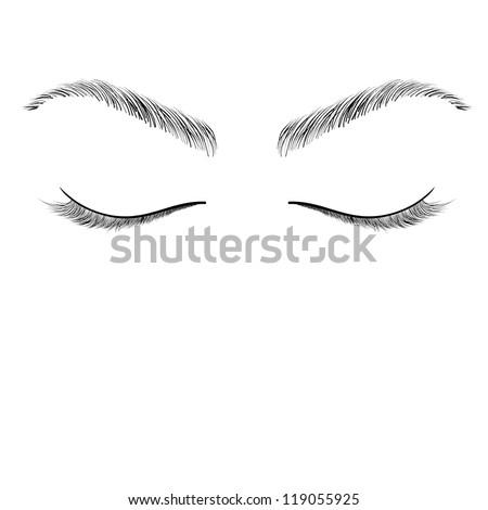 closed eyes sketch vector - stock vector