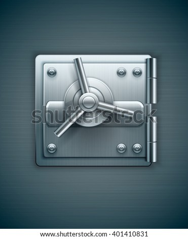 Closed metal door of bank safe for money keeping vector illustration icon, banking concept, safety  - stock vector