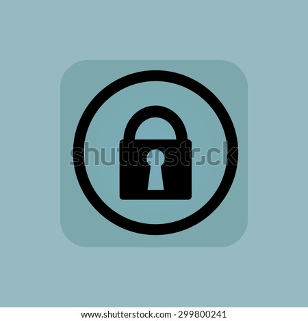 Closed padlock in circle, in square, on pale blue background